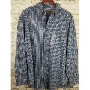 NWT St Johns Bay Shirt Button Front Colat Multi lg